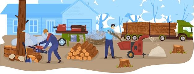 Rejestrowanie przemysłu drzewnego, drewna, ciężarówki do transportu drewna z ilustracji drewna. produkcja drewna i leśnictwo.