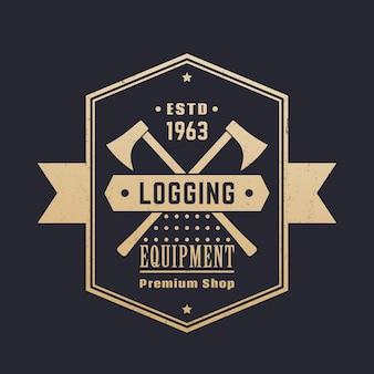 Rejestrowanie sprzętu, vintage logo sklepu z drewnem