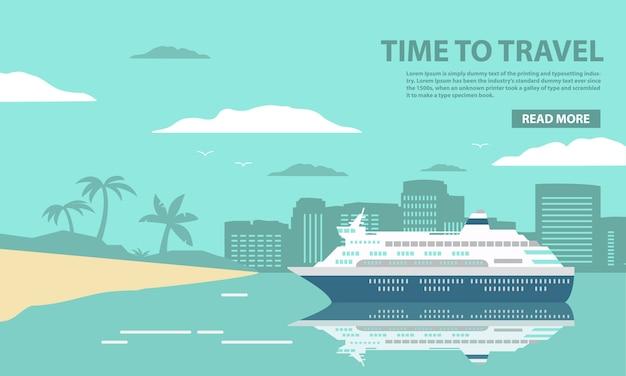 Rejs liniowca pasażera tropikalnego morskiego krajobrazu z palmami i szablonem piaszczystej plaży