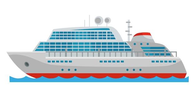 Rejs statkiem pasażerskim wycieczkowym na białym tle