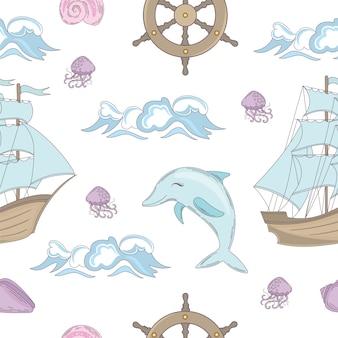 Rejs tale ocean travel seamless pattern