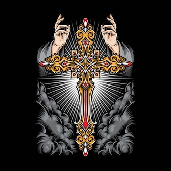 Ręka anioła z krzyżem