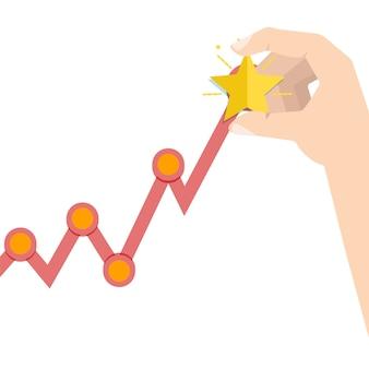 Ręka biznesmen na zysku rosnącym wykresie.