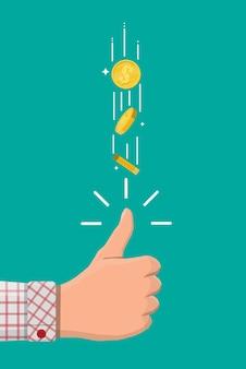 Ręka biznesmena podrzucając złotą monetę dolara. podejmowanie decyzji przez przypadek za pomocą monety. ekscytacja, szczęście, fortuna. ilustracja wektorowa w stylu płaski