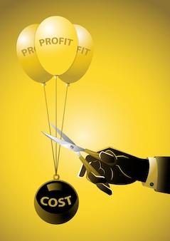 Ręka biznesmena używająca nożyczek, aby zmniejszyć duże obciążenie kosztami i pozwolić zyskowi płynąć