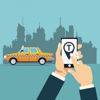 Ręka chwyt mobilny taxi usługa miasta miasta online tło