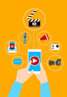Ręka chwyta komórki telefonu loga wideo mądrze pojęcie