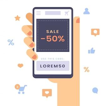 Ręka chwyta smartphone z sprzedaży wiadomością. koncepcja mobilnych zakupów i rabatów sezonowych.