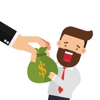 Ręka chwytająca pieniądze torba