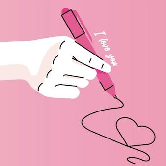 Ręka człowieka piśmie miłość ikoną pióra