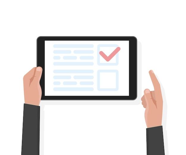 Ręką człowieka trzymać komputer typu tablet z szablonu testu i głosowania. ilustracja wektorowa.