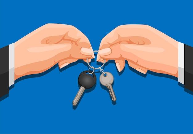 Ręka, dając klucz w ilustracja kreskówka
