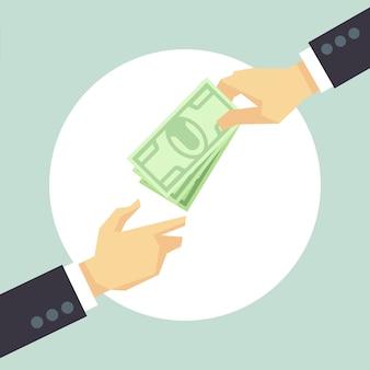 Ręka daje pieniądze. darowizna, dobroczynność, koncepcja płatności. pojęcie korupcji i darowizny