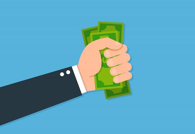 Ręka daje pieniądze płasko