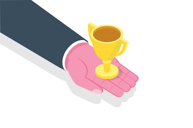 Ręka daje trophy cup. sukces, izometryczny koncepcja zespołu zwycięstwa. ilustracja.