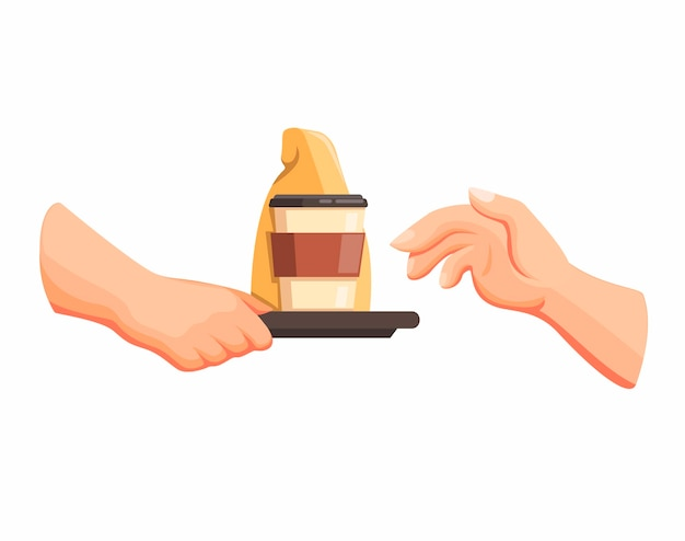 Ręka daje zamówienie klientowi w restauracji drive thru lub fast food w wektor ilustracja kreskówka na białym tle