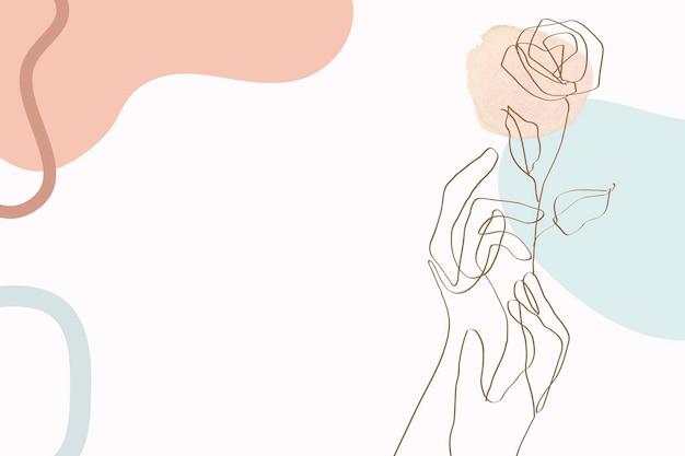 Ręka i róża linia wektor ilustracja