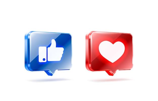 Ręka i serce jak neon ikona znak wyznawca d banner najlepszy post wektor mediów społecznościowych