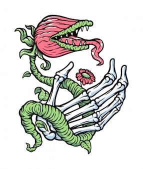 Ręka ilustracja czaszki i potwora roślin