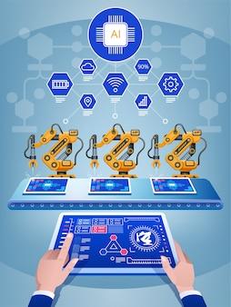 Ręka inżyniera za pomocą tabletu, ciężka maszyna z ramieniem robota automatyki w inteligentnej fabryce. przemysł sztucznej inteligencji 4. koncepcja iot.