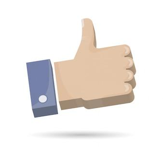 Ręka kciuk w górę ikony 3d ilustraci.