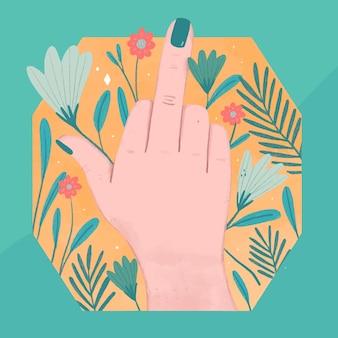 Ręka kobiety pokazująca symbol fuck you z kwiatami