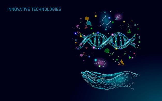Ręka koncepcja terapii genowej dna. aplikacja konsultacji lekarskiej. diagnoza opieki zdrowotnej sieci web geometryczny nowoczesny szpital sieć banner. tło rynku apteki low poly