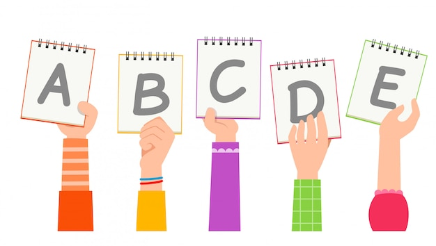 Ręka kreskówka z literą alfabetu. koncepcja edukacji