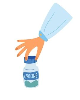 Ręka lekarza trzymająca probówkę ze szczepionką przeciw covid-19. probówka w dłoni. koncepcja szczepionki, eksperymenty chemiczne, badania medyczne, osiągnięcia naukowe. płaskie ilustracji wektorowych