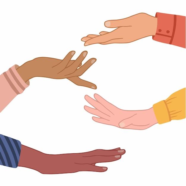 Ręka ludzi z różnymi kolorami skóry na białym tle ręcznie rysowane płaskie wektor ilustracja