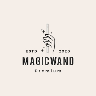 Ręka magiczna różdżka hipster vintage logo