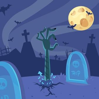 Ręka martwego człowieka z ziemi cmentarza ilustracja