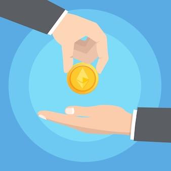 Ręka mężczyzny podana z drugiej strony złota kryptowaluta ethereum. koncepcja technologii blockchain. ilustracji wektorowych.