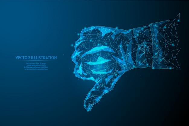 Ręka mężczyzny pokazuje kciuk w dół z bliska. znak niechęci w mediach społecznościowych i sieciach. zły wybór, głosowanie, praca. pomysł na biznes.