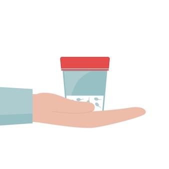 Ręka mężczyzny trzyma pojemnik spermy. słoik do analizy. koncepcja dawstwa nasienia i badania niepłodności. płaskie wektor ilustracja na białym tle