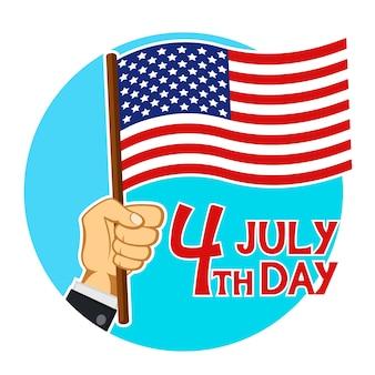 Ręka mężczyzny trzymającego flagę usa, czwarty dzień lipca. kartka z życzeniami