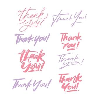 Ręka napis dziękuję zestaw
