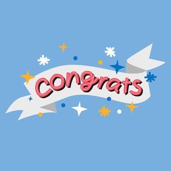Ręka napis gratulacje karta słowna
