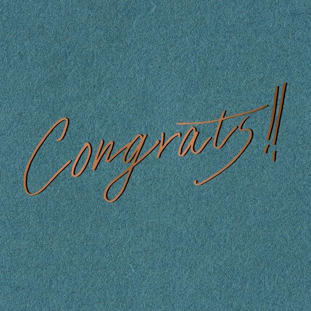 Ręka napis gratulacje słowo kaligrafia