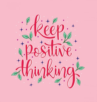 Ręka napis napis keep positive thinking, motywujące cytaty, inspirujący tekst, kaligrafia