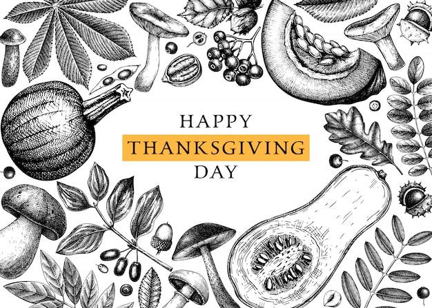 Ręka naszkicowana jesień. elegancki i modny szablon botaniczny z jesiennymi liśćmi, dyniami, jagodami, nasionami i szkicami ptaków. idealne na zaproszenia, kartki, ulotki, menu, etykiety, opakowania.