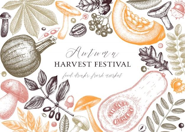 Ręka naszkicowana jesień w kolorze. elegancki i modny szablon botaniczny z jesiennymi liśćmi, dyniami, jagodami, nasionami i szkicami ptaków. idealne na zaproszenia, kartki, ulotki, etykiety, opakowania.