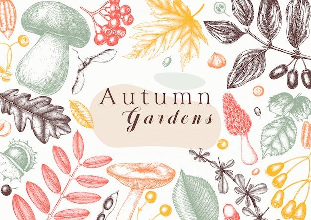 Ręka naszkicowana jesień w kolorze. elegancki i modny szablon botaniczny z jesiennymi liśćmi, dyniami, jagodami, nasionami i szkicami ptaków. idealne na zaproszenia, kartki, ulotki, menu, opakowania.