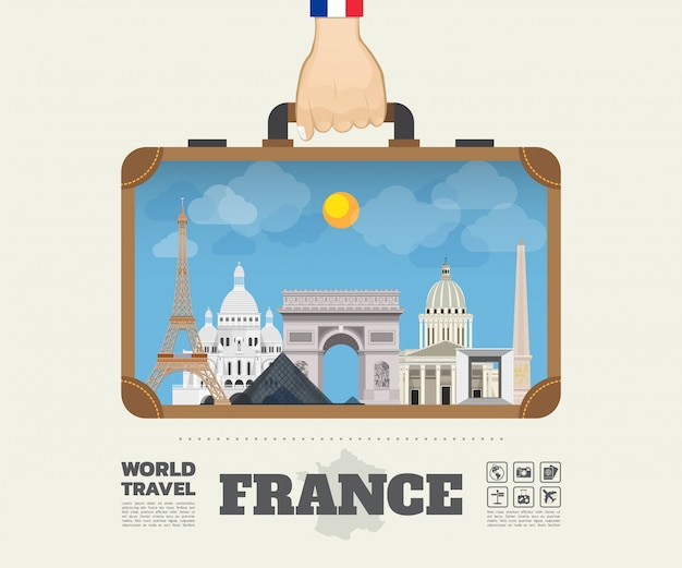 Ręka niosąca france landmark global travel and journey infographic bag.