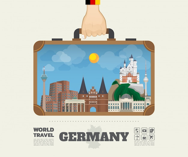 Ręka niosąca niemcy landmark global travel and journey infographic bag.