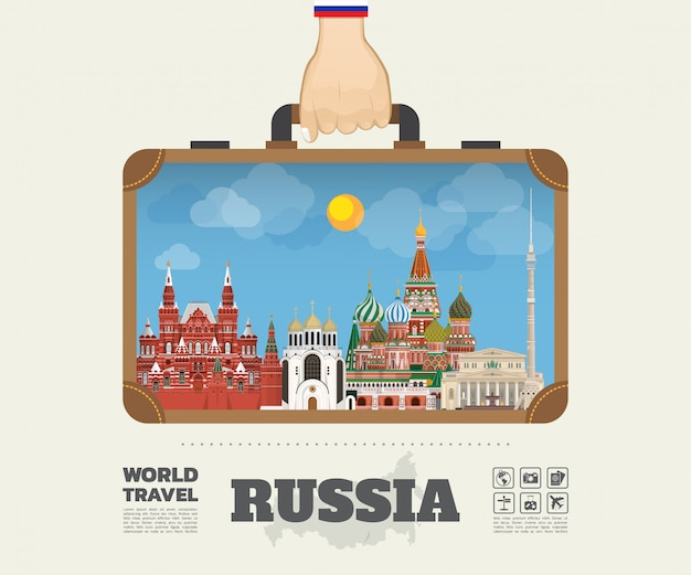 Ręka niosąca rosja punkt orientacyjny global travel and journey infographic bag. .