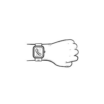 Ręka nosi inteligentny zegarek z ikoną doodle wyciągnąć rękę przychodzącego połączenia. inteligentne urządzenie, koncepcja nowoczesnego gadżetu. szkic ilustracji wektorowych do druku, sieci web, mobile i infografiki na białym tle.