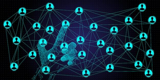 Ręka o niskiej wielokącie pracująca w globalnej strukturze sieci i wymieniająca dane połączenie klienta z nowym komputerem ui.