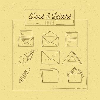 Ręka plakat z arkuszy listów i folderów biurowych