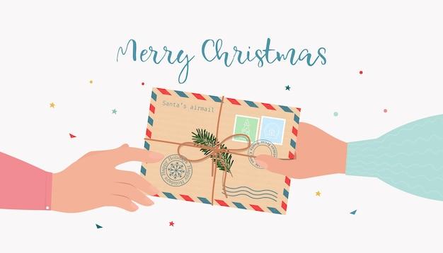 Ręka podaje kopertę pocztową do drugiej ręki. koncepcja poczty bożego narodzenia. płaska ilustracja